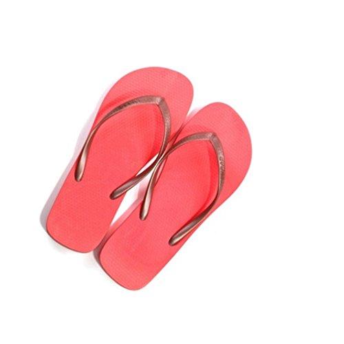 Baymate Caramella Colore Infradito Donna Spiaggia Pantofole Comfort Sandali Rosso