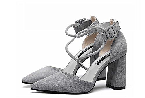 pengweiLe scarpe sandali delle scarpe degli alti talloni delle signore del legame poco profonde e della camicia di scarsit¨¤ hanno regolato gray