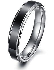 MunkiMix Ancho 4mm Acero Inoxidable Anillo Ring Plata Banda Venda Negro San valentin Amor Love Pareja Promesa Compromiso Alianzas Boda Mujer