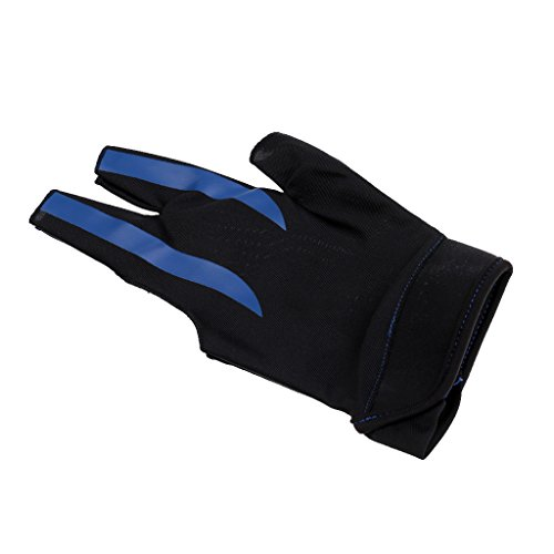 MagiDeal Billard Zubehör: 3 Finger Handschuh, Linke Hand Billard Handschuh - Billiard Glove, komfort und elegant - Blau Schwarz