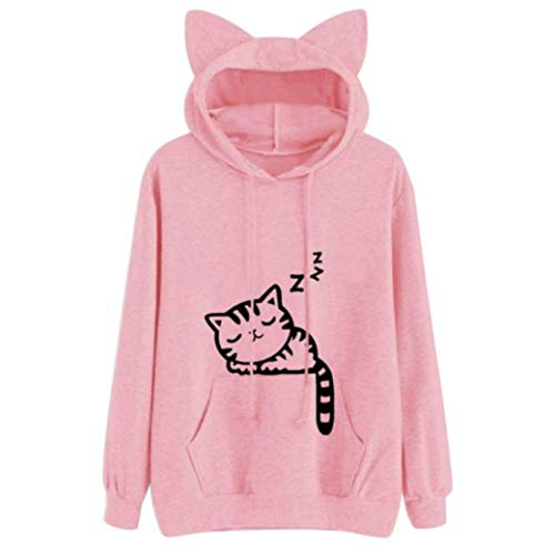 Pullover MEIbax Damen Cat Langarm Hoodie Sweatshirt mit Kapuze Pullover Tops Lose Langarmshirt Bluse Oberteile