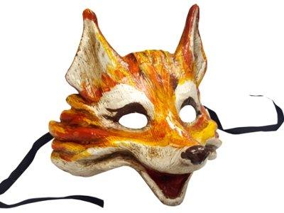 Luxuriöse handgefertigte Fuchs-Maske im venezianischen Stil mit realistischen Farben