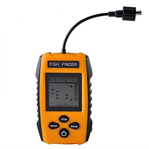 ANHORNG Finder Detektor tragbar Draht Fisch-Finder LCD Display Fishfinder Fish Standort Detektor, mit Sonar Sensor Wandler für Boot Angeln - Mit Gps Fisch-finder