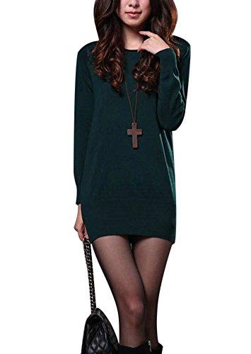 molly-donna-manica-lunga-pullover-abiti-maglione-verde-profondo-collare-basso