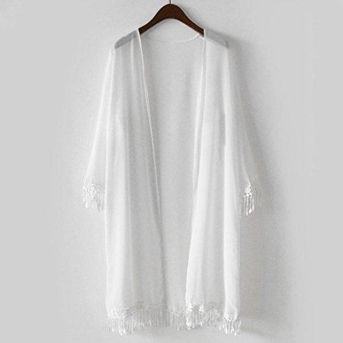 Vovotrade Femme Châle Top Gland Kimono Couverture de Plage Mousseline à Manches Courtes Blanc