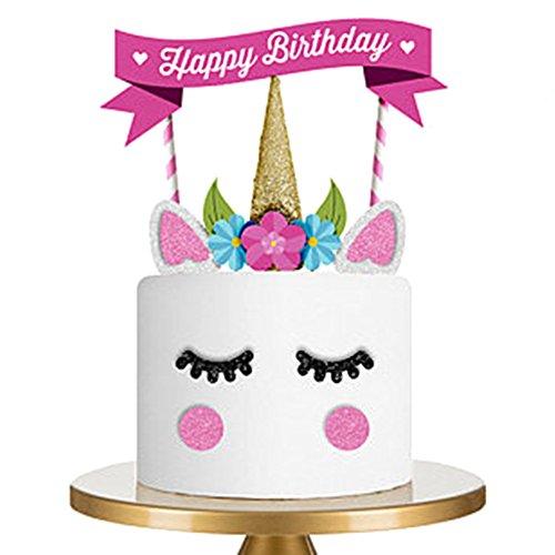 iKulilky Happy Birthday Kuchendekoration Cake Toppers Kuchen Geburtstag Party Deko Kuchenaufsätze Einhorn Tortenstecker Geburtstag