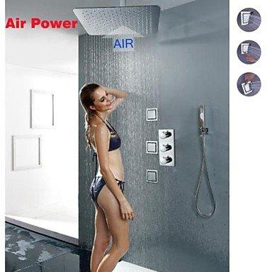 Miaoge Thermostat-Brausearmatur, montiert 16-Zoll-Decken ultra-dünnen Luftinjektion Wassersparregendusche Kopf