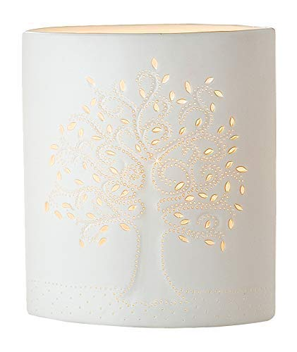 GILDE Lampe Lebensbaum - aus Porzellan mit Lochmuster im Prickellook H 28 cm