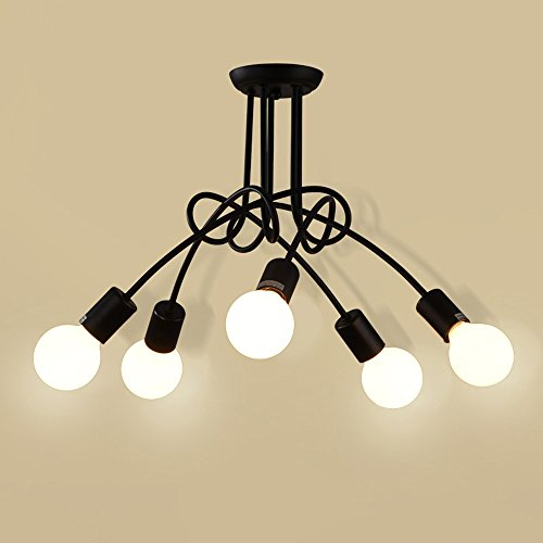 Vintage Antique Metal Ceiling Lights E27 Socket Semi Flush Mounted Ceiling Pendant Lights Modern Chandelier With Multi Pole Diy Creative Hanging