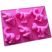 Joyeee Antiadherente de Horneado Molde Silicona, Moldes de silicona con forma de dinosaurios para pastel