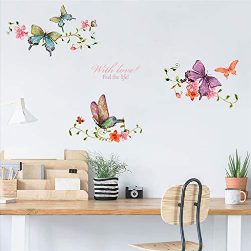 Sencillo Vida Pegatinas pared Mariposas Flores vinilo