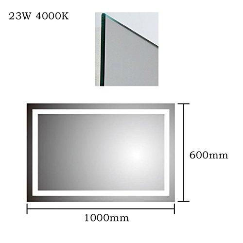 Anten® Elegant 23W LED Spiegelleuchte 3000K Warmweiß IP65 LED Wand Spiegel mit Beleuchtung 100x60cm Eckig -