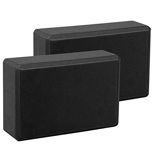 Exerz EXYB-002 Bloque De Yoga x 2 PK - Cómodo Fitness Foam Bricks, Antideslizante - Ligero y fácil de Usar (Negro)