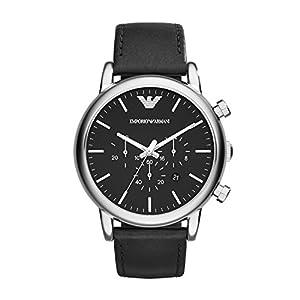 Emporio Armani AR1828 - Reloj para hombres, correa de cuero color negro de Emporio Armani