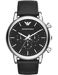 Emporio Armani AR1828 - Reloj para hombres, correa de cuero color negro