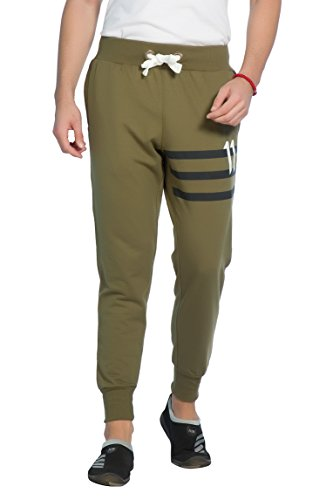 Alan Jones Solid Men's Joggers Track Pants (JOG18-FN07-OLIVE-L_Large_Olive)