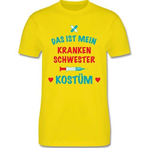 Karneval & Fasching - Das ist Mein Krankenschwester Kostüm - S - Lemon Gelb - L190 - Herren T-Shirt Rundhals (Krankenschwester Gelben T-shirt)