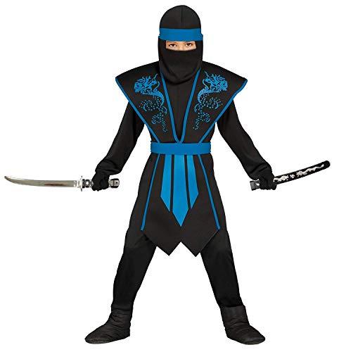 Magicoo Ninja Kostüm Kinder blau-schwarz mit schicker Rüstung - Ninja Kostüm Jungen- Ninja Kostüme für Kinder (128/134)