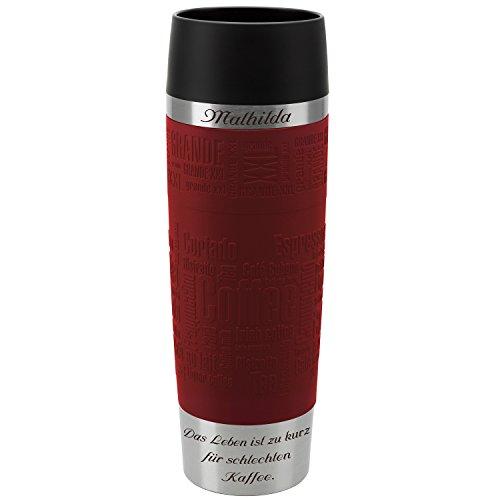 Emsa Thermobecher Travel Mug Grande Rot 500 ml mit persönlicher Rund-Gravur gelasert Edelstahl Soft-Touch-Manschette Quick Express Verschluss