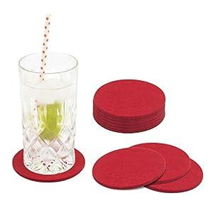 Miqio® Design Glasuntersetzer – Filz und Leder – Waschbar – 10er Set Getränke Untersetzer mit Echtleder Applikation
