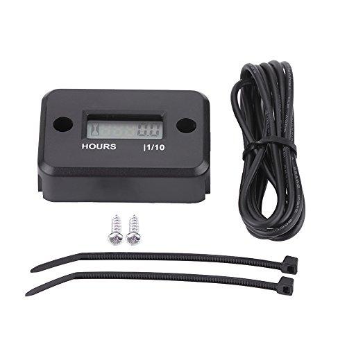 Contaore LCD digitale, impermeabile con contaore digitale induttivo per moto adatta tutti i motori a benzina(Black)