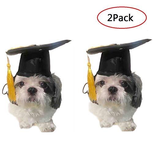 CheeseandU Haustierhut mit gelber Quaste, für kleine und mittelgroße Hunde, Schwarz, 2 Stück