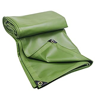 LIANGJUN Tarpaulin Rainproof Polyvinyl Chloride Coating Thickening Canvas Heat Insulation Sun Protection Plastic Cloth Awning Rain Cover, 600g/m², Thickness 0.6mm (Color : Green, Size : 2X2m)