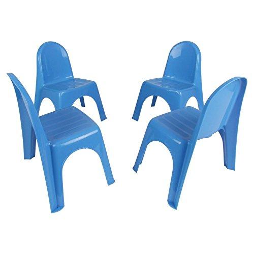 Kinderstühle 4er Set - BLAU - robuster Stuhl für Kleinkinder - Kindermöbel Gartenstühle