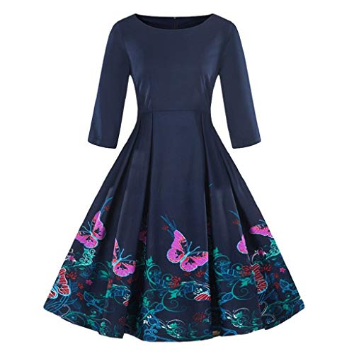 Soupliebe Mode Damen Plus Größe 3/4 Ärmel Vintage Kleid Floral Print Retro Swing Dress...