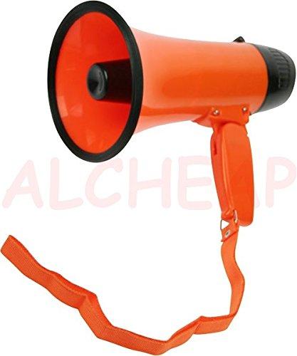 Lot 2 Megaphone Orange 22cm Poignée rabatable Volume réglable 4xLR14