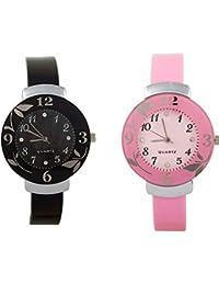 Shree Enterprise Pink & Black Quartz Analogue Watch | Combo Of 2 Watch | Beautiful Flower Design Case | Attractive...