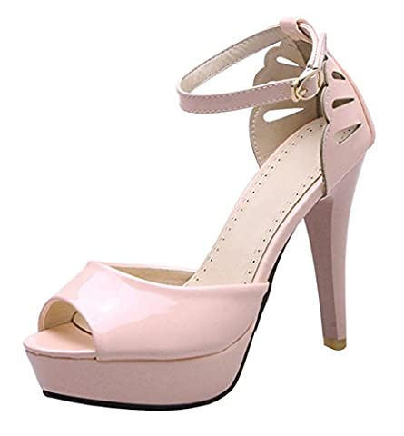 YE Damen Peep Toe High Heels Lack Ankle Strap Stiletto Pumps Plateau Cut Out Sandalen Schuhe