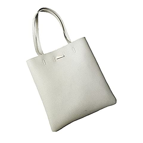 Jinberry Minimalism Shoulder Bag for Women and Girls, Simple Retro Leather Handbag / Tote - Grey