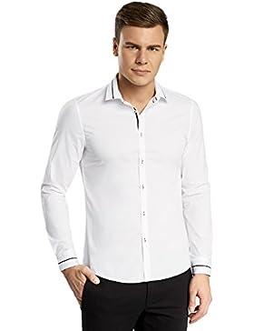 oodji Ultra Uomo Camicia Attillata con Finitura in Contrasto
