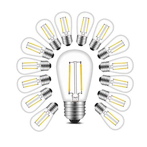BRTLX Bombillas de Filamento LED E27 2W Equivalente a 11 W 150 lúmenes Blanco Cálido 2700K 360°Ángulo del Haz No regulable Pack de 15 Unidades[Clase de eficiencia energética A+]