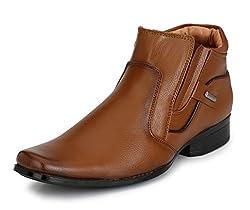Mactree Mens Tan Premium Mid Top Zipper Boots 277-5