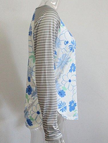 Sentao Donna Camicetta Maniche Lunghe Floreale T Shirt Tops Casual Sciolto Rotondo Collo Maglietta Come immagine