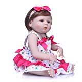 Prettyia Real Touch Full Silicone 22inch Reborn Baby Girl Doll Fake Toddler Newborn