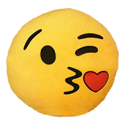 SODIAL(R)Hot nuovo Emoji Blowkiss Emoticon Cuscino Rotondo casa cuscino peluche