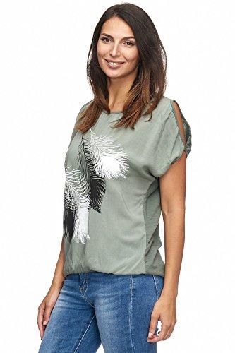 Jillymode Elegante Damen T-shirts einfarbig Feder A1117 A1117-Feder-Grün