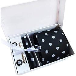 COMVIP Hombres Lunares de negocios corbata pañuelo de las mancuernas Set de 6 Corbata: 146x8x3.5cm Punto negro # 1