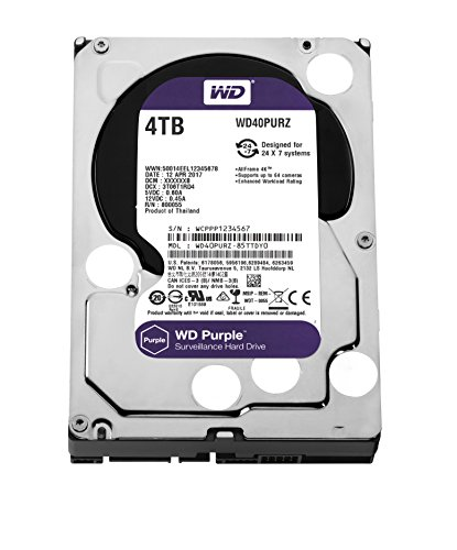 Hdd-video (WD Purple 4 TB Festplatte zur Videoüberwachung - Intellipower SATA 6 Gb/s 64MB Cache 3,5 Zoll - WD40PURZ)