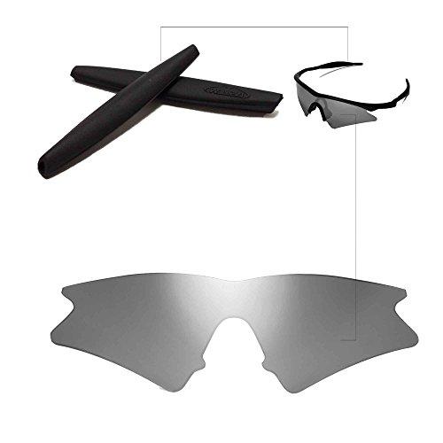 Walleva Wechselgläser Und Earsocks für Oakley M Frame Sweep Sonnenbrille - Mehrfache Optionen (Titanium Linsen + Schwarzer Gummi)