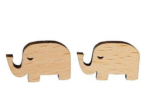Elefante Pendientes miniblings Conector Pendientes Elefante abstracto madera sin oído