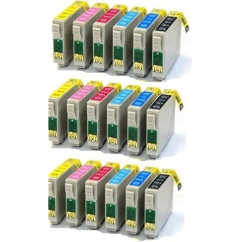 3 Sets : 18 High Cap Compatible Ink Cartridges replaces Multipack T0487 - T0481 T0482 T0483 T0484 T0485 T0486 for use with Epson Stylus Photo R200 R220 R300 R300M R320 R325 R340 R350 RX500 RX600 RX620 RX640 ink jet Printers
