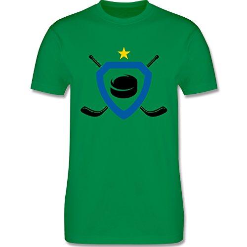 Eishockey - Puck Eishockeyschläger Stern - Herren Premium T-Shirt Grün