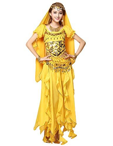 besbomig Professionel Damen Bauchtanz Kostüm - 6 Stück Kurze Ärmel Sequenziert Indischer Tanzsatz Performance-Kleidung -
