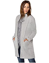 SUBLEVEL Damen Mantel aus kuscheligem Sweat | Eleganter offener Wintermantel