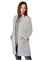 Sublevel Damen Mantel Übergangs-Jacke aus Sweat offen Grey L
