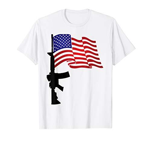 AR-15 Gewehr amerikanische Flagge T-Shirt -